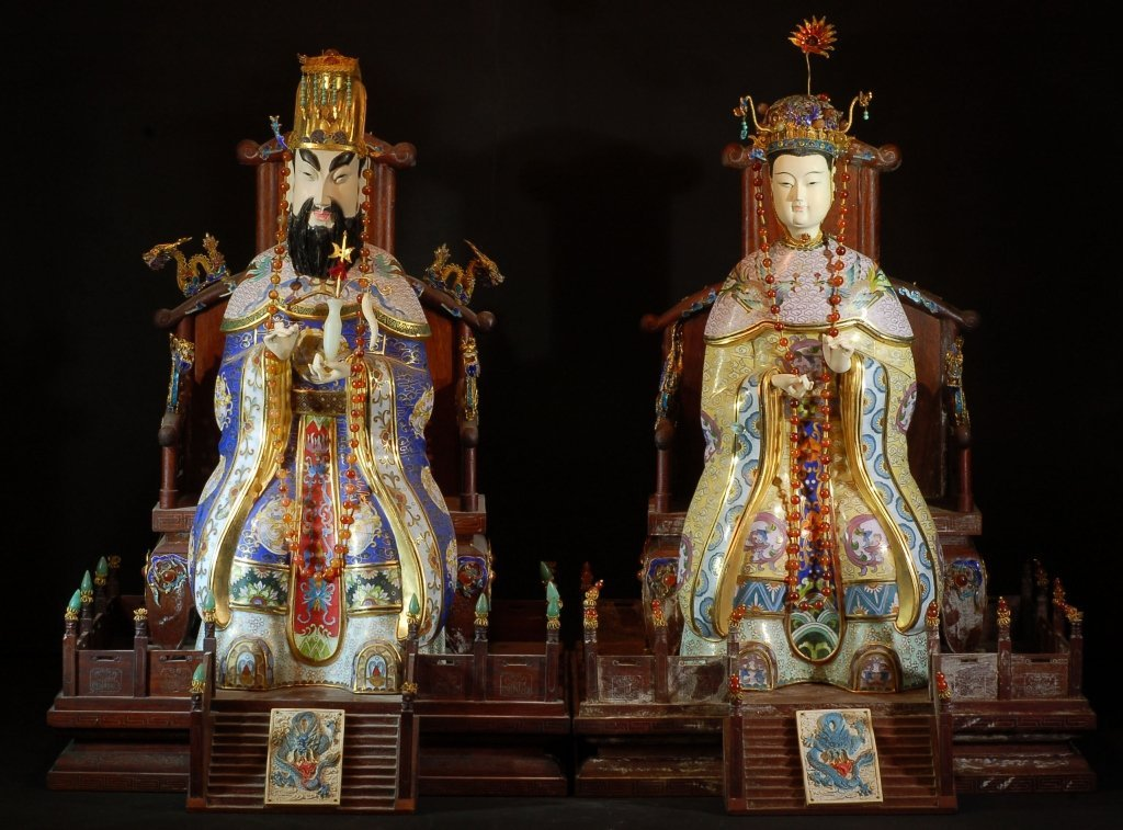 Pair of Cloisonne King & Queen