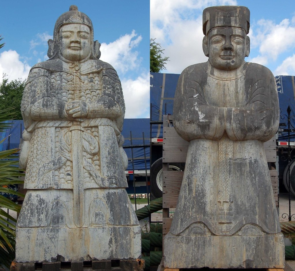 Pair of Old Carved Stone Statues