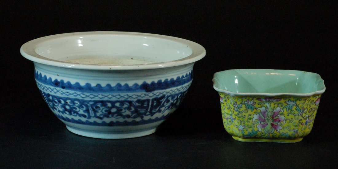 Lot of 2 Chinese Blue & White/ Famille Rose Bowls