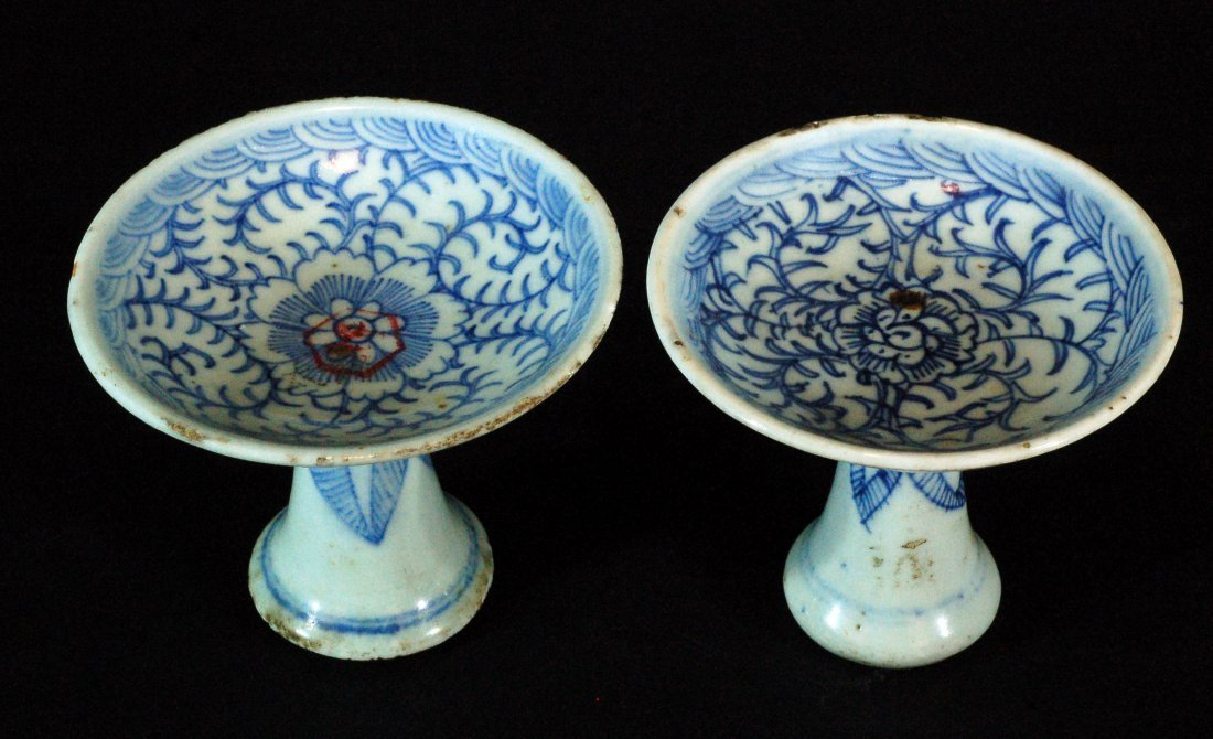 Pair of Chinese Blue & White Footed Plates