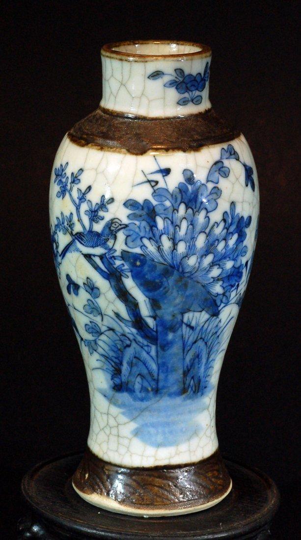 Old Crackle Glazed Blue & White Vase