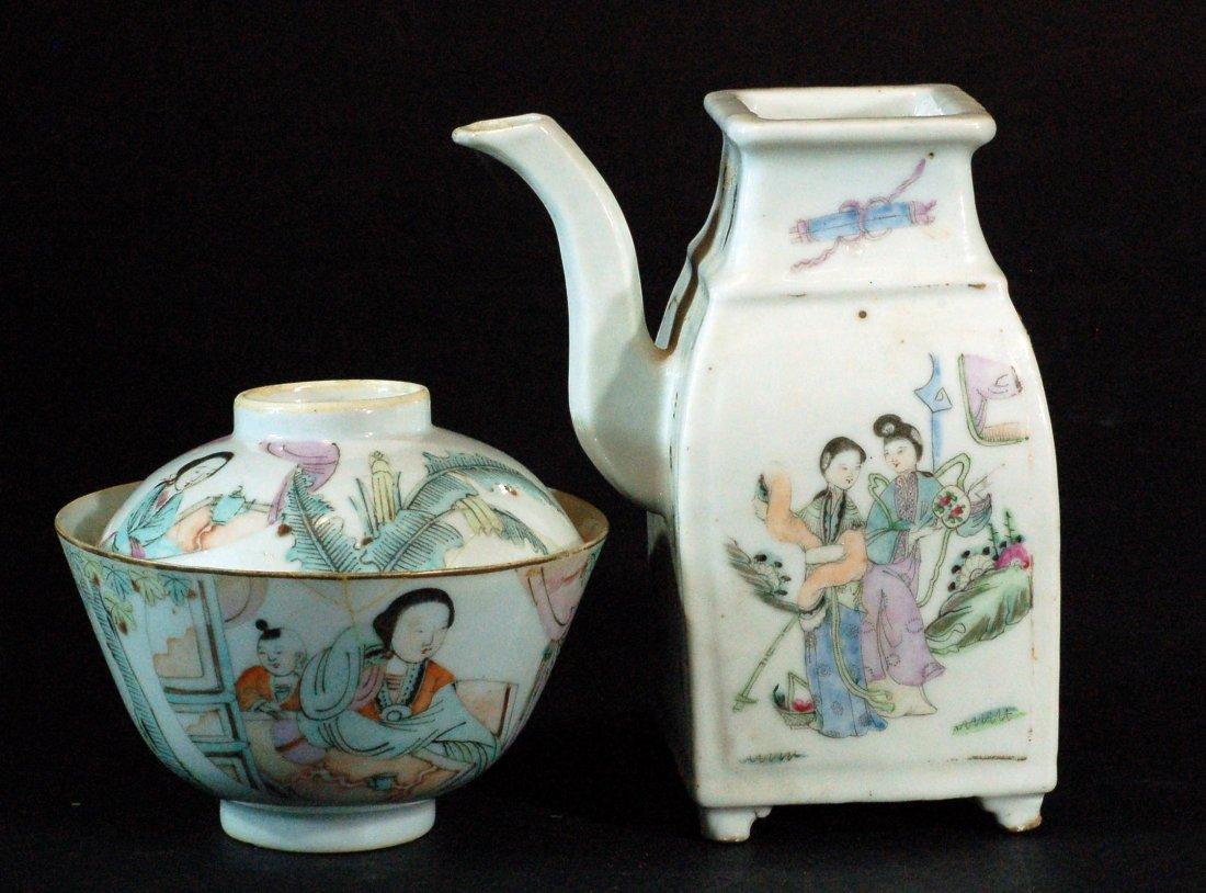 Famille Rose Pot & Lidded Jar