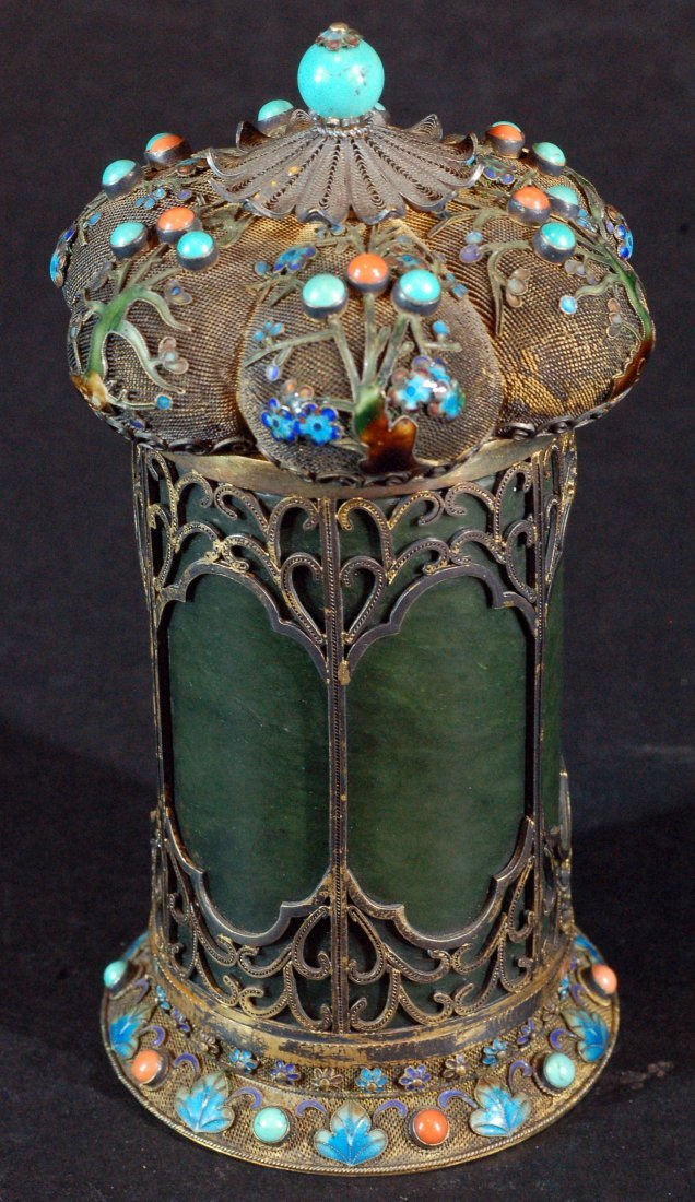 Antique Spanish Jade Container with Cloisonne