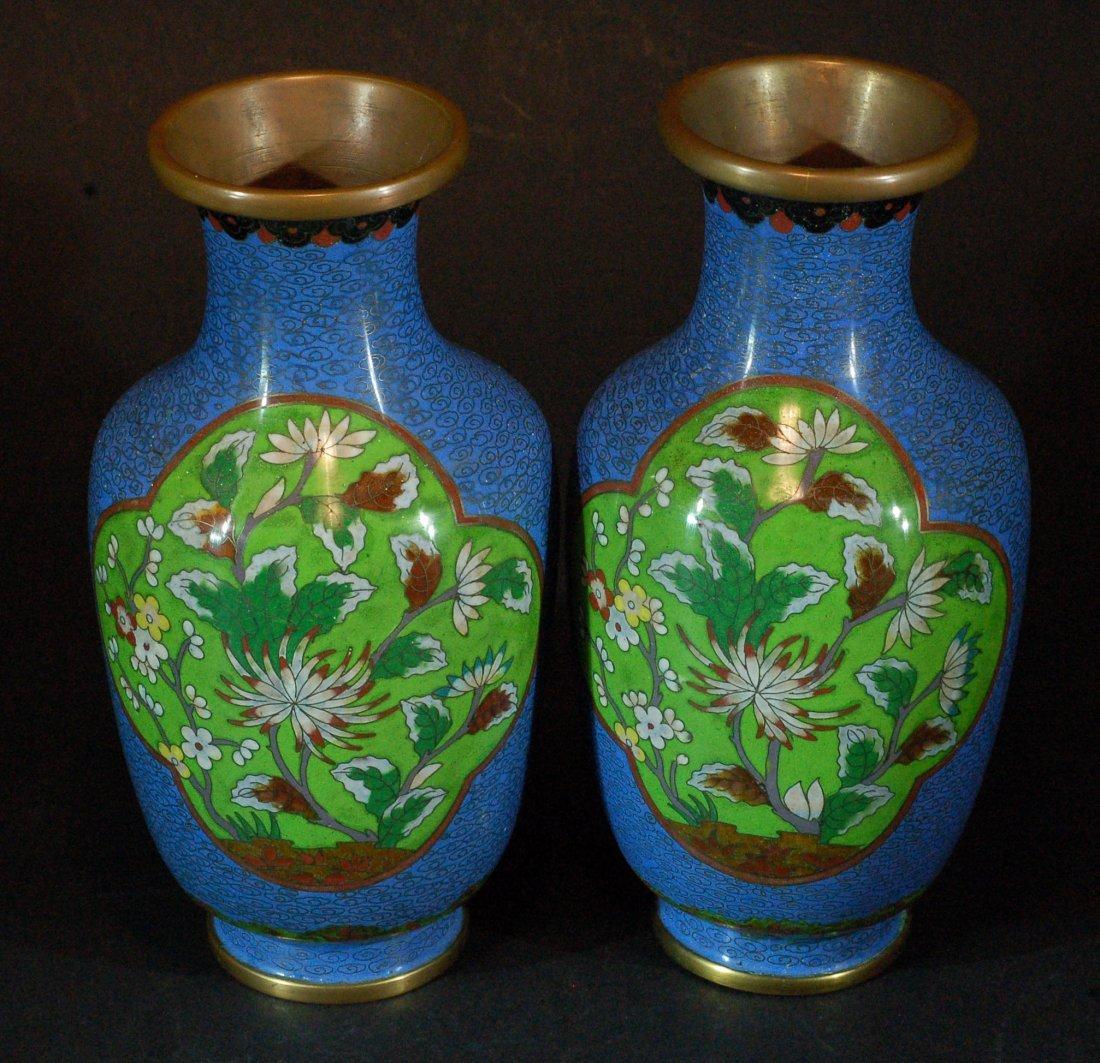 Pair of Fine Blue Cloisonne Vases
