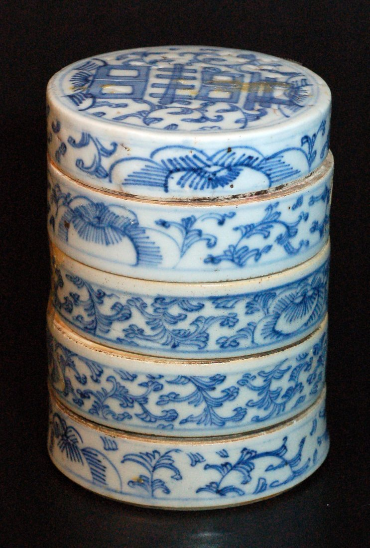 Chinese 5 Stack Blue & White Food Container