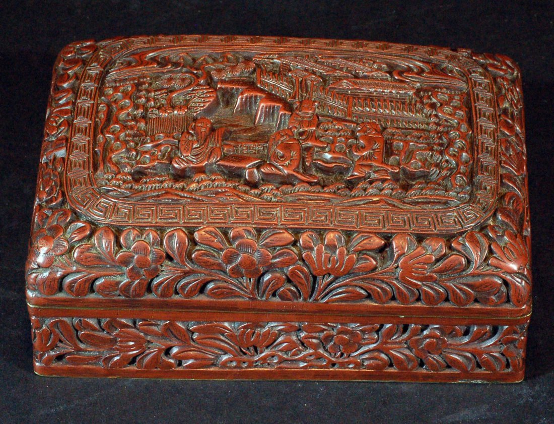 Highly Carved Cinnabar Box