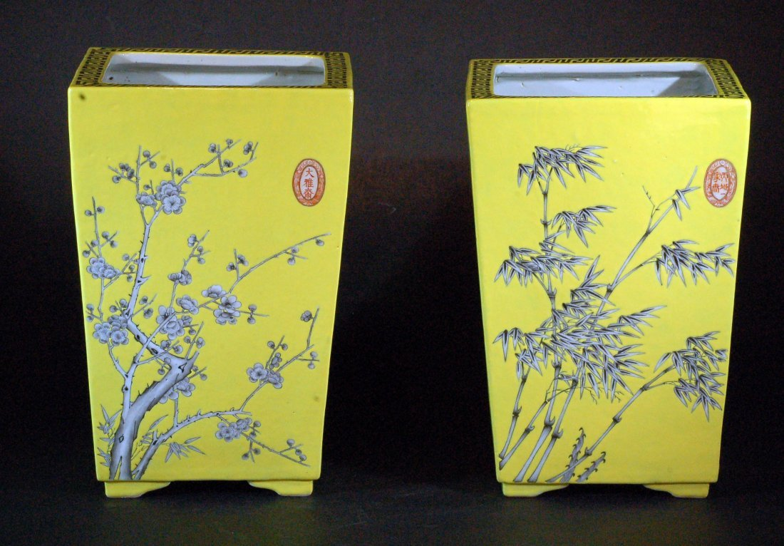 Antique Pair of Square Form Yellow Ground Planters
