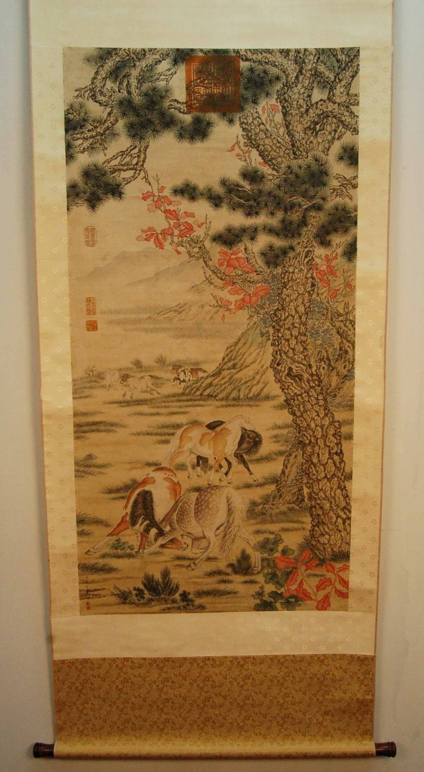 Chinese Scroll Painting - Horses