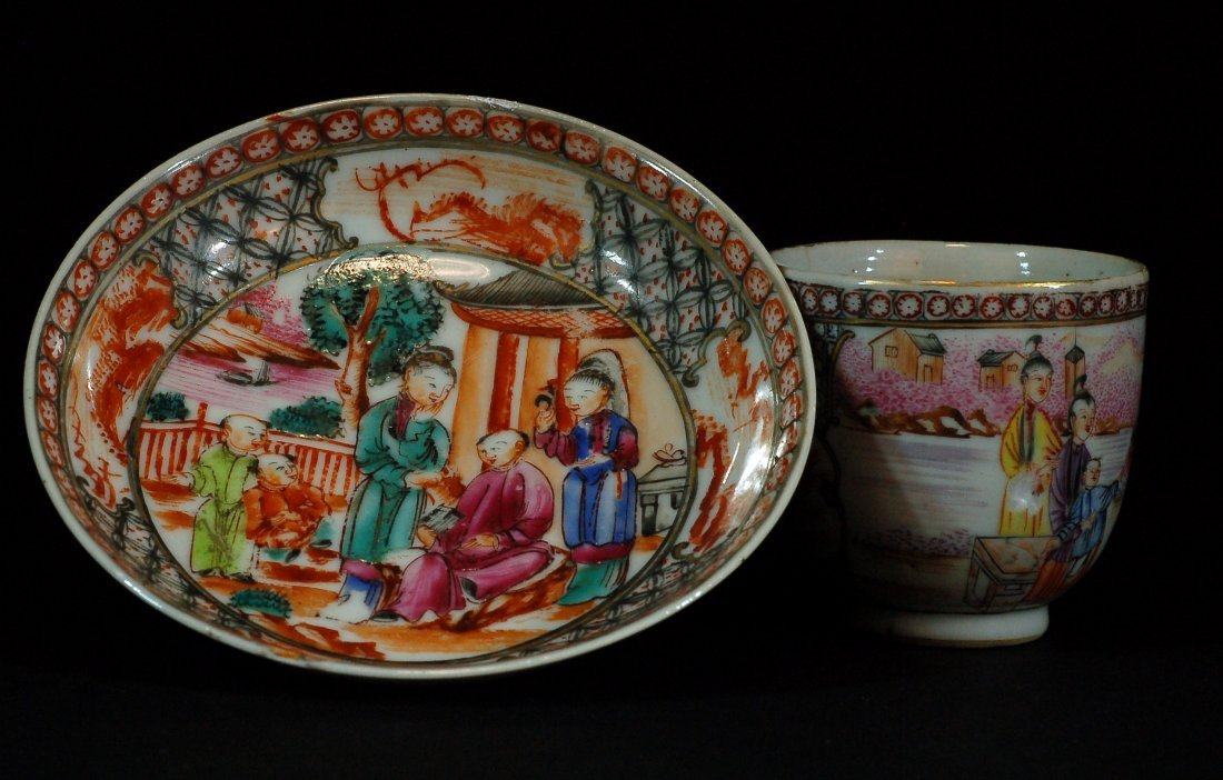 Set of 2 Chinese Famille Rose Plate/Cup