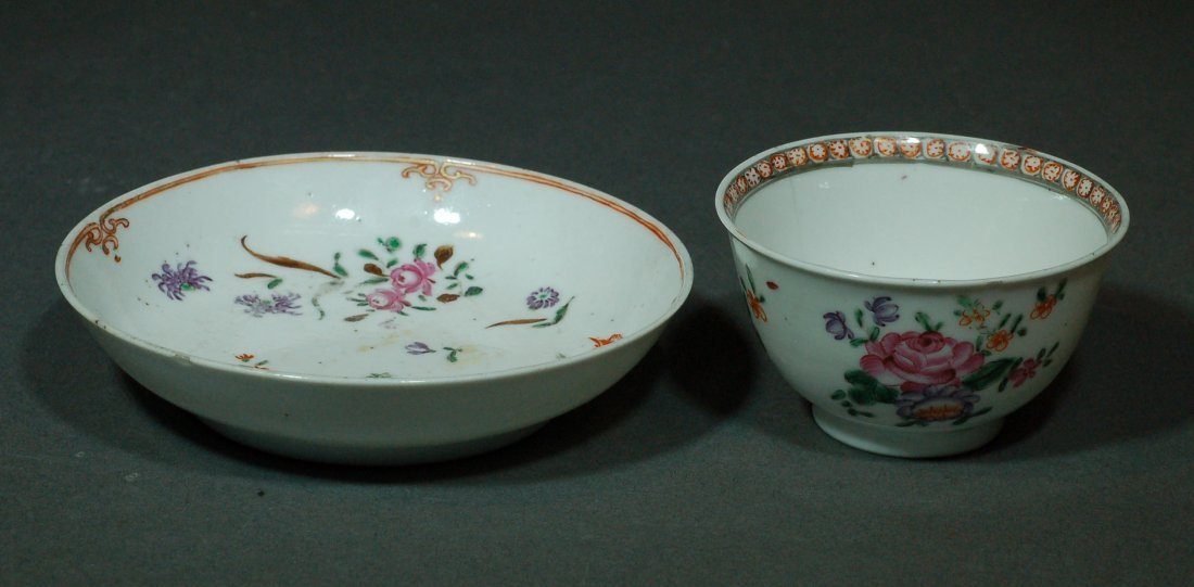Set of 2 Antique Chinese Famille Rose Plate & Bowl