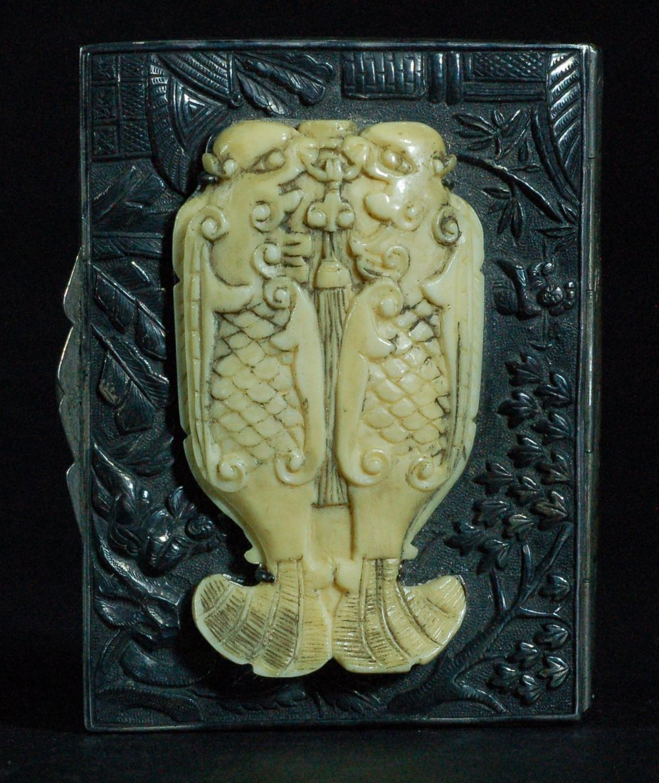 Chinese Silver with Ivory inlaid Card Case, 19th C