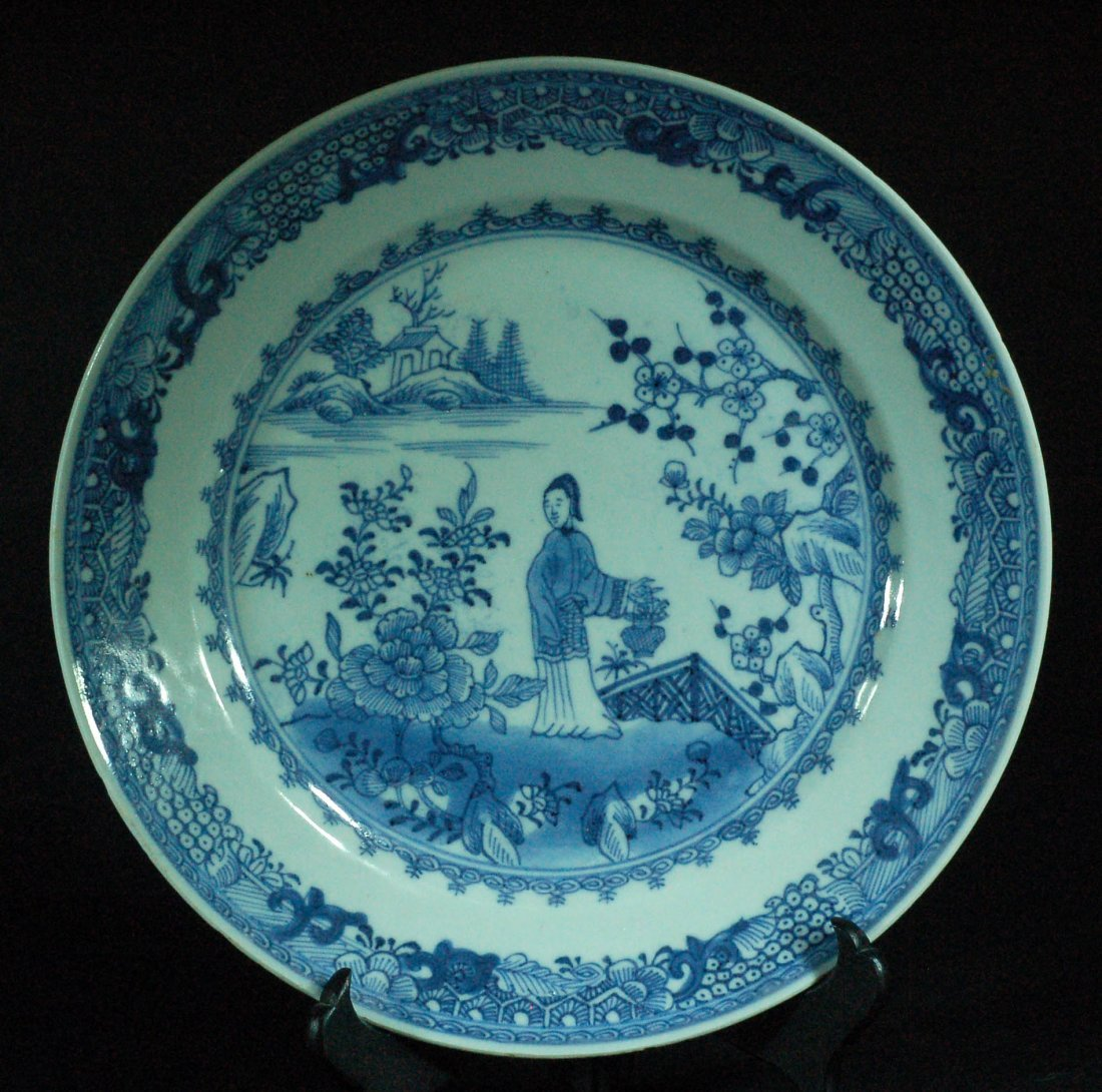 Chinese Blue & White Plate - Farmer Lady