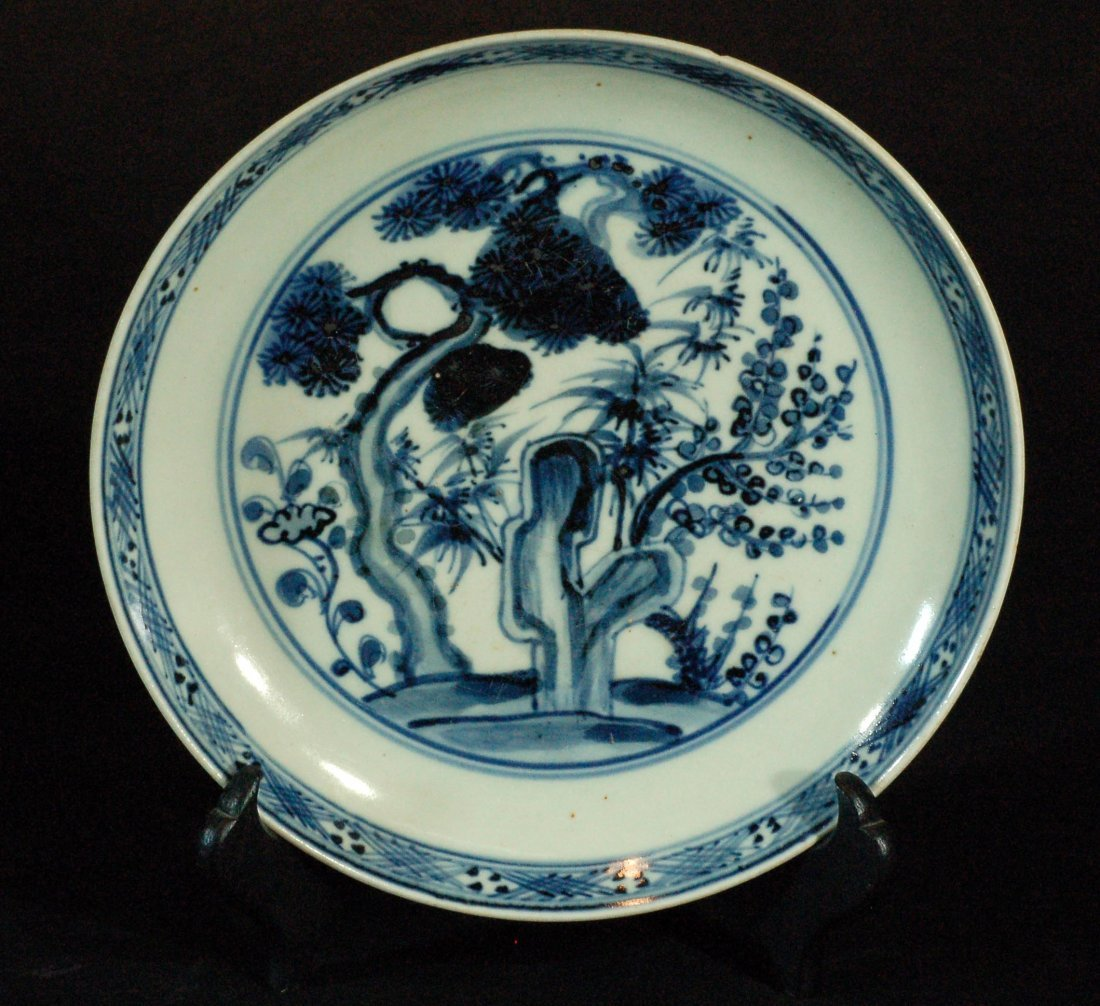 Chinese Blue & White Plate - Pine,Bamboo & Plum