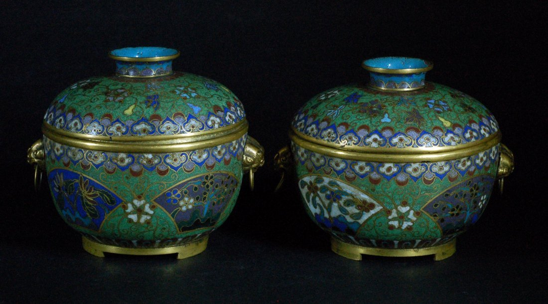 Pair of Chinese Cloisonne Lidded Bowls, 19th C.