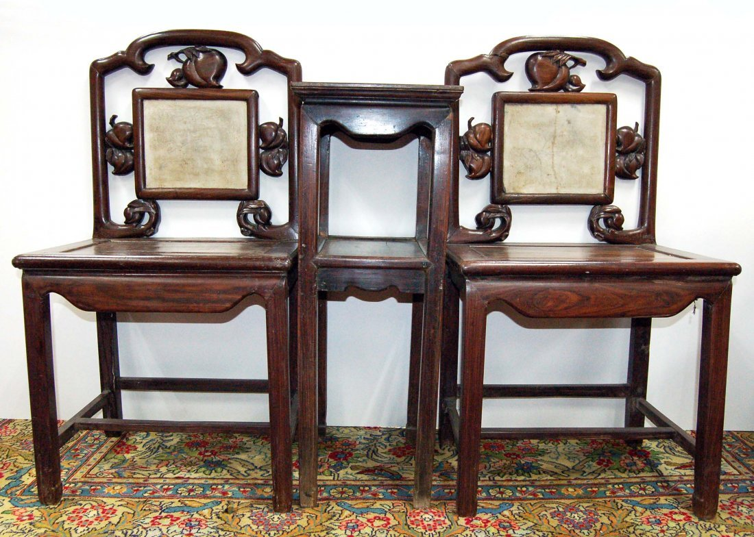 Set of 3 Chinese Old Rosewood Chairs & Table