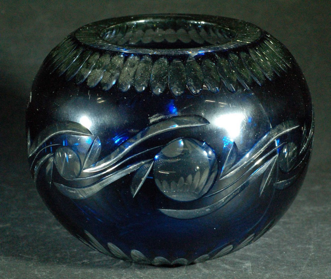 Large Blue Cut-to-Clear Glass Vase