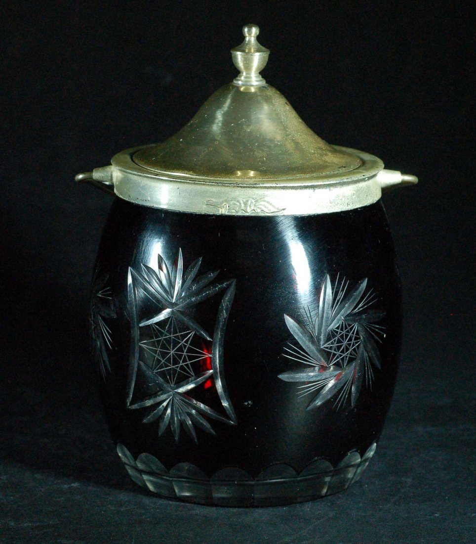 Large Ruby Cut-to-Clear Lidded Jar 1920s