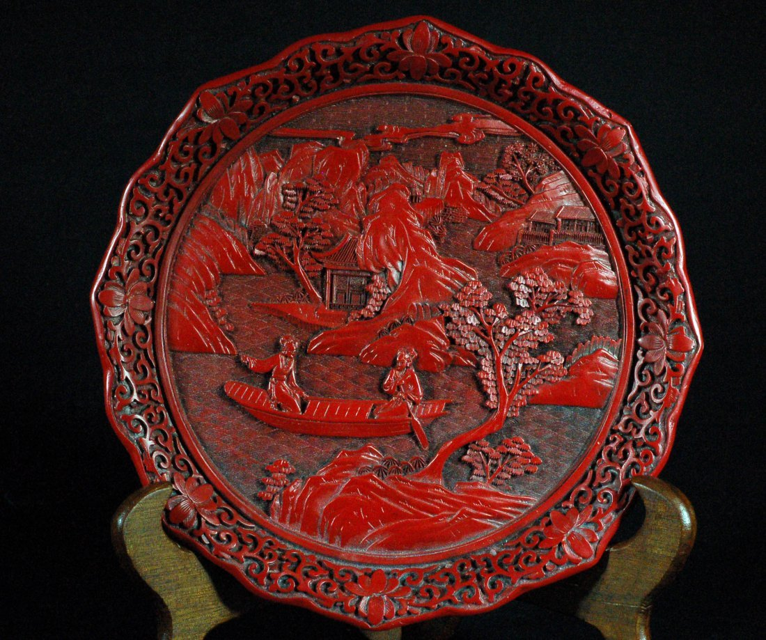 Chinese Old Cinnabar Plate