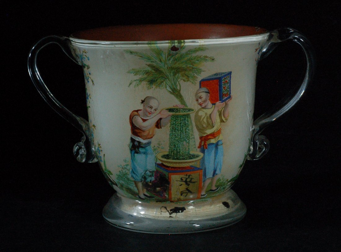 Reverse Painted Glass Urn
