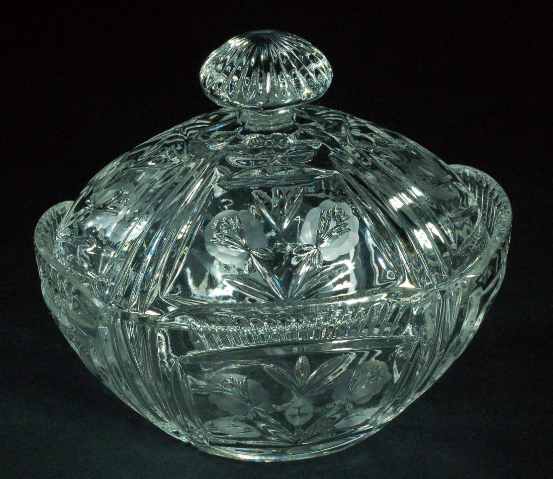 Lidded Etched Glass Candy Dish