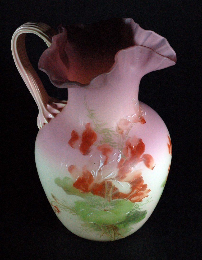 Large Handpainted Satin Glass Vase
