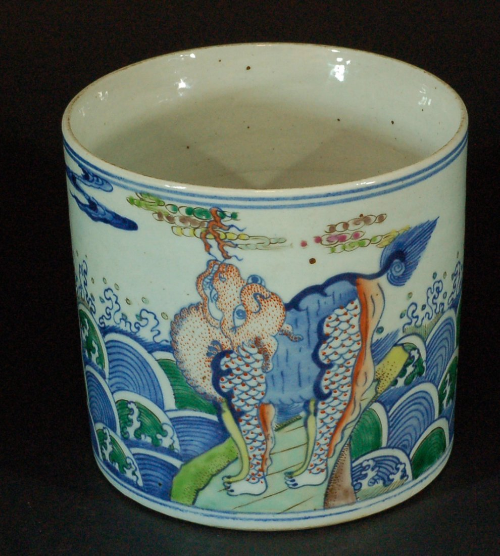Chinese Old Wucai Brushpot