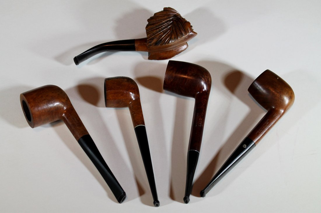 Lot of 5 Old Wood Pipes