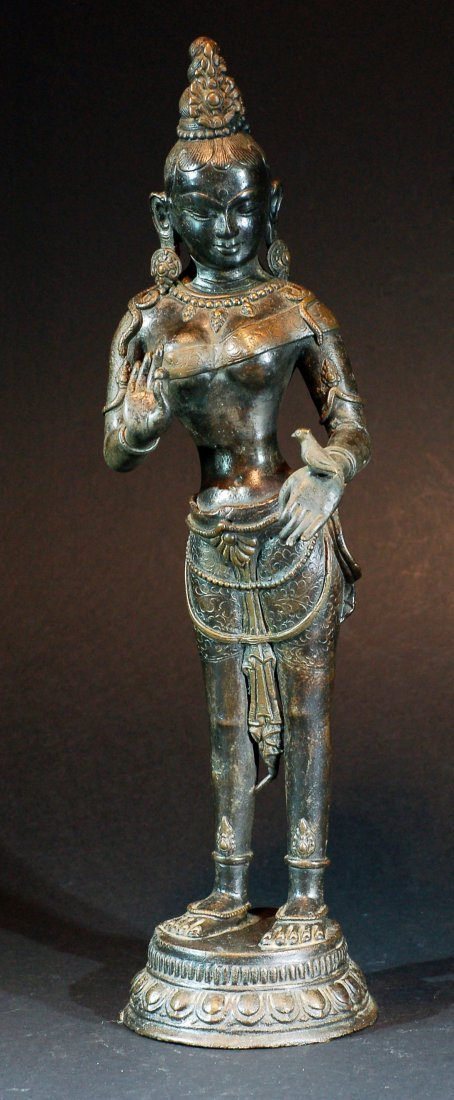 Old Bronze Statue - Figure holding a Bird