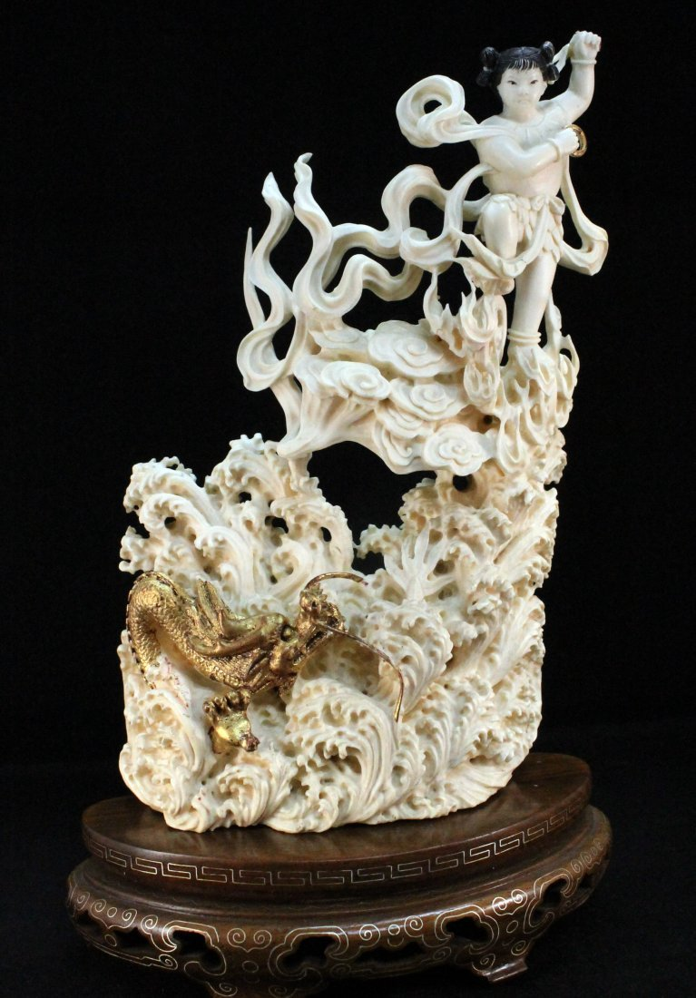 Highly Carved Ivory Decoration with Base