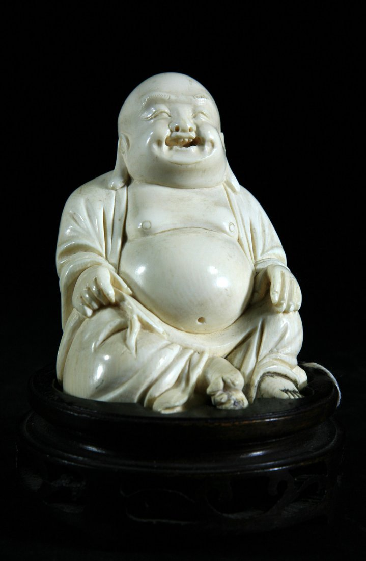 Highly Detailed Carved Old Ivory Buddha Statue