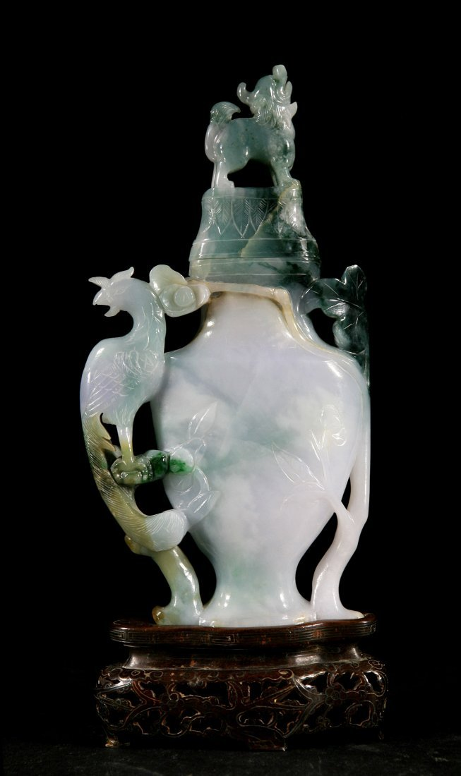 Highly Carved Antique Jadeite Vase