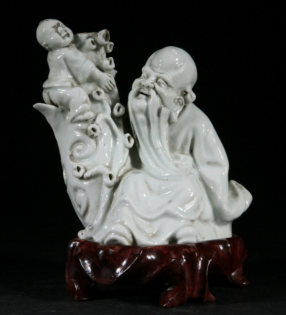 Qing Dynasty Blanc De Chine Statue - Old man and K
