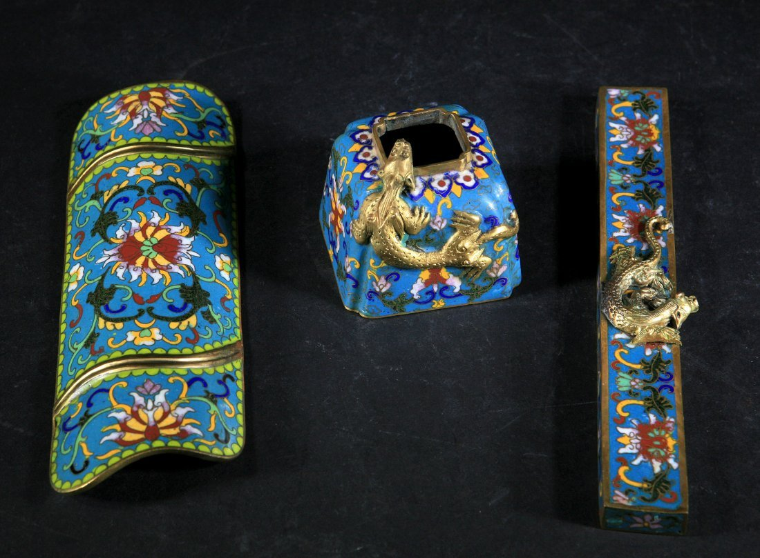 Set of 3 Qing Dynasty Cloisonne Pieces