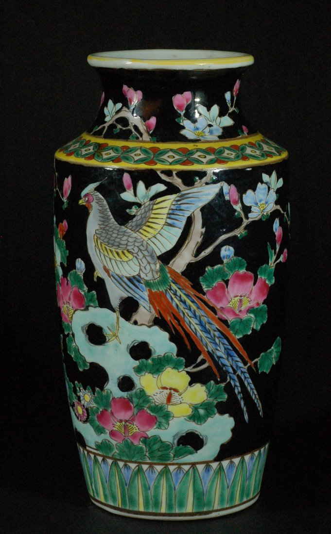 Old Chinese Black Glazed Famille Rose Vase