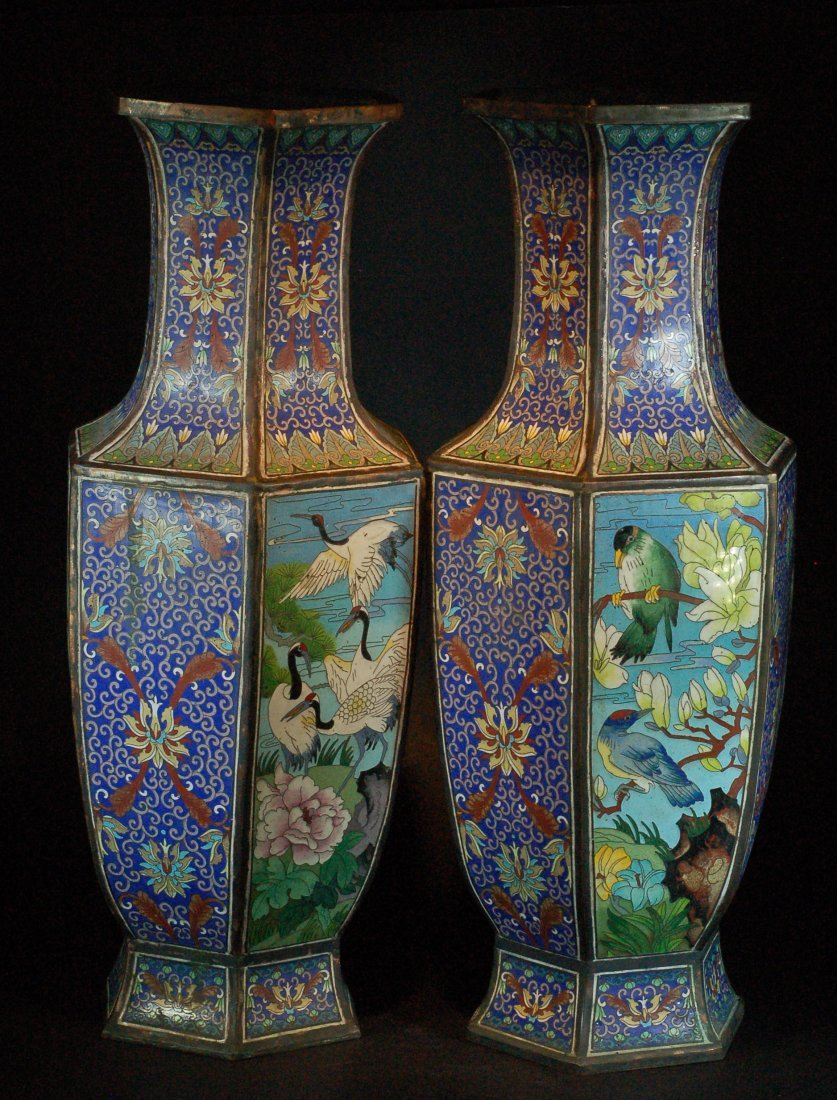 Pair of Large Hexagon Shaped Cloisonne Vases
