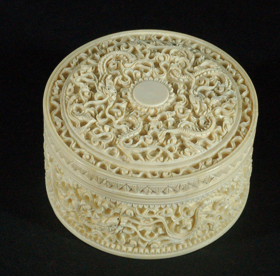 Highly Carved Bone Lidded Box