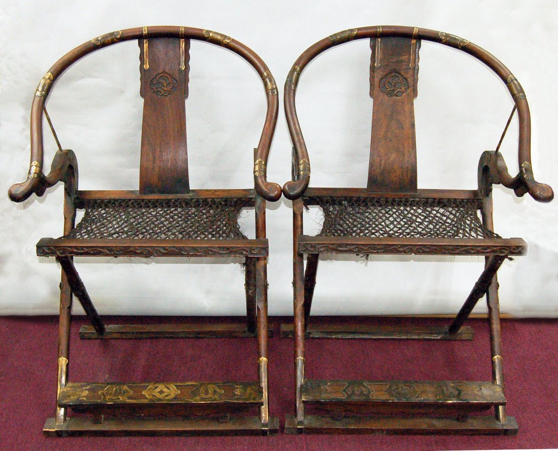Pair of Old Chinese Folding Hunters Chairs
