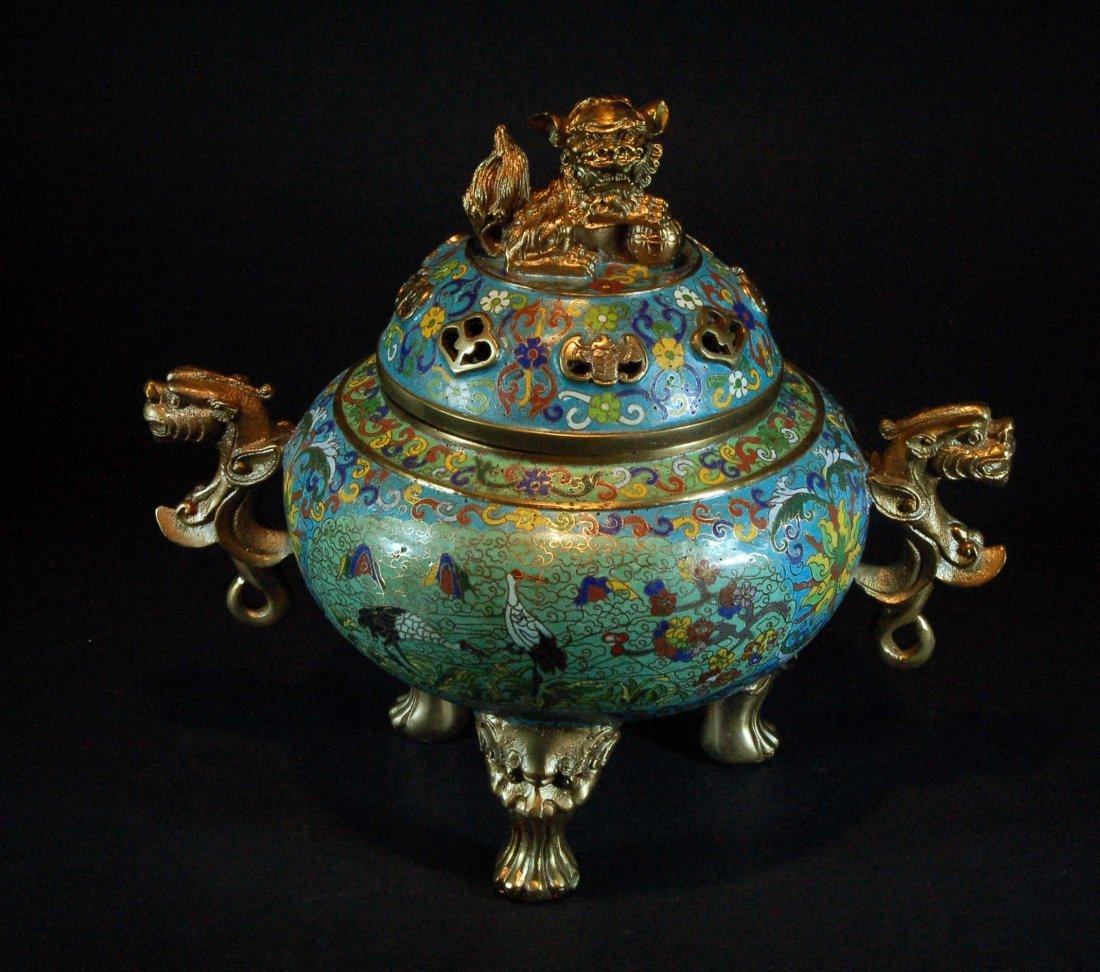Old Chinese Cloisonne Tripod Censer