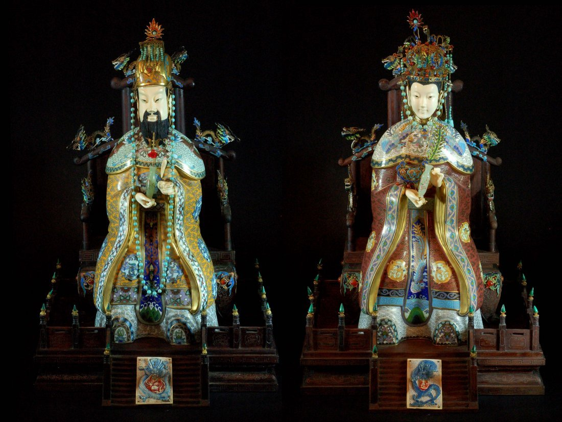 Pair of Cloisonne Statues with Bone Heads