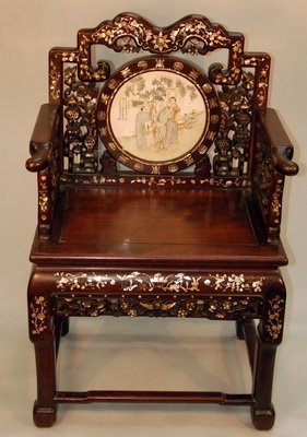 Rosewood Armchair with Porcelain Placque Qing Dynasty
