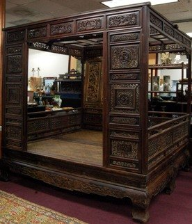 Old Chinese Hardwood Opium Bed - 2