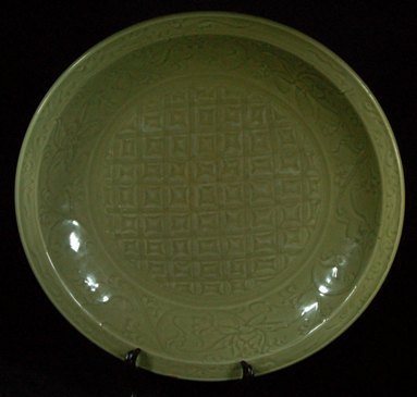 Large Chinese Ming Celadon Carved Charger