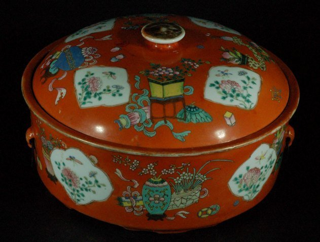 Chinese Coral Ground Lidded Pot