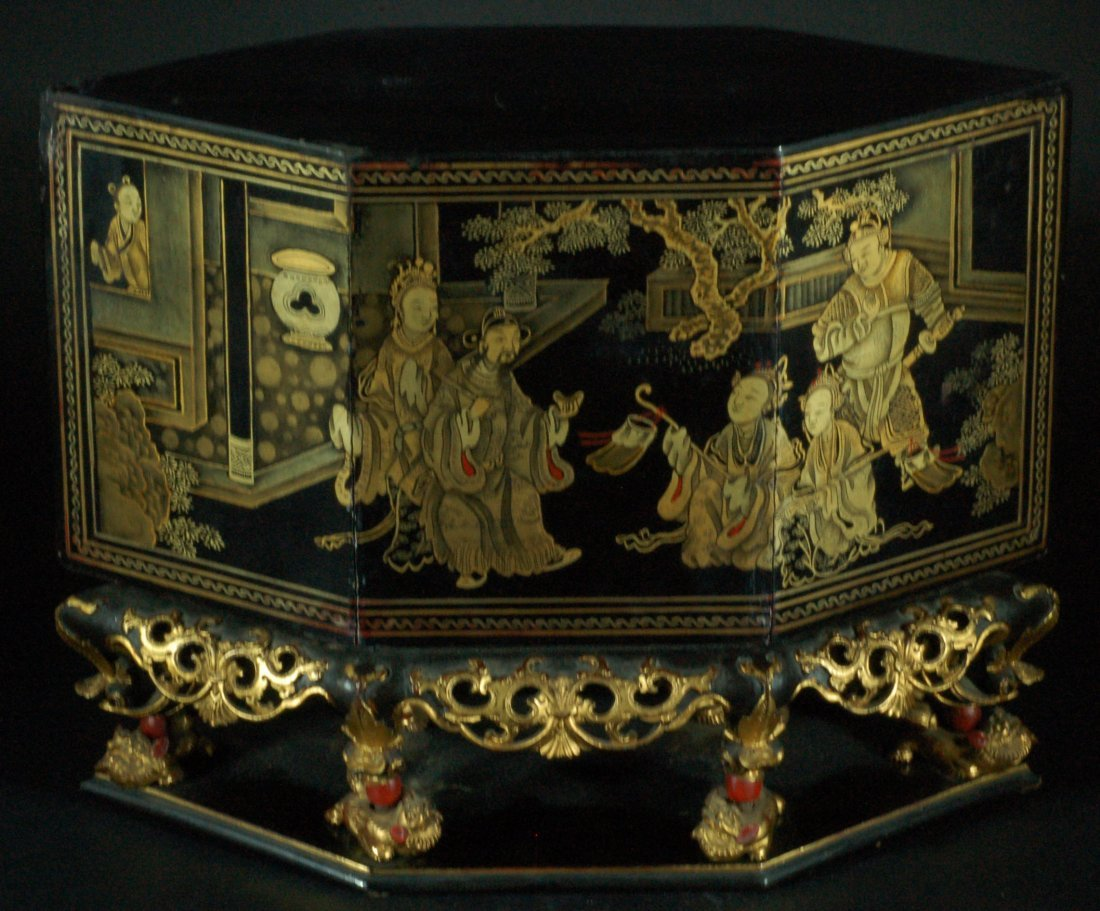 Highly Carved Qing Lacquered Wood Shrine with Cover
