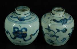 Pair of Chinese Ming Blue  White Water Pots