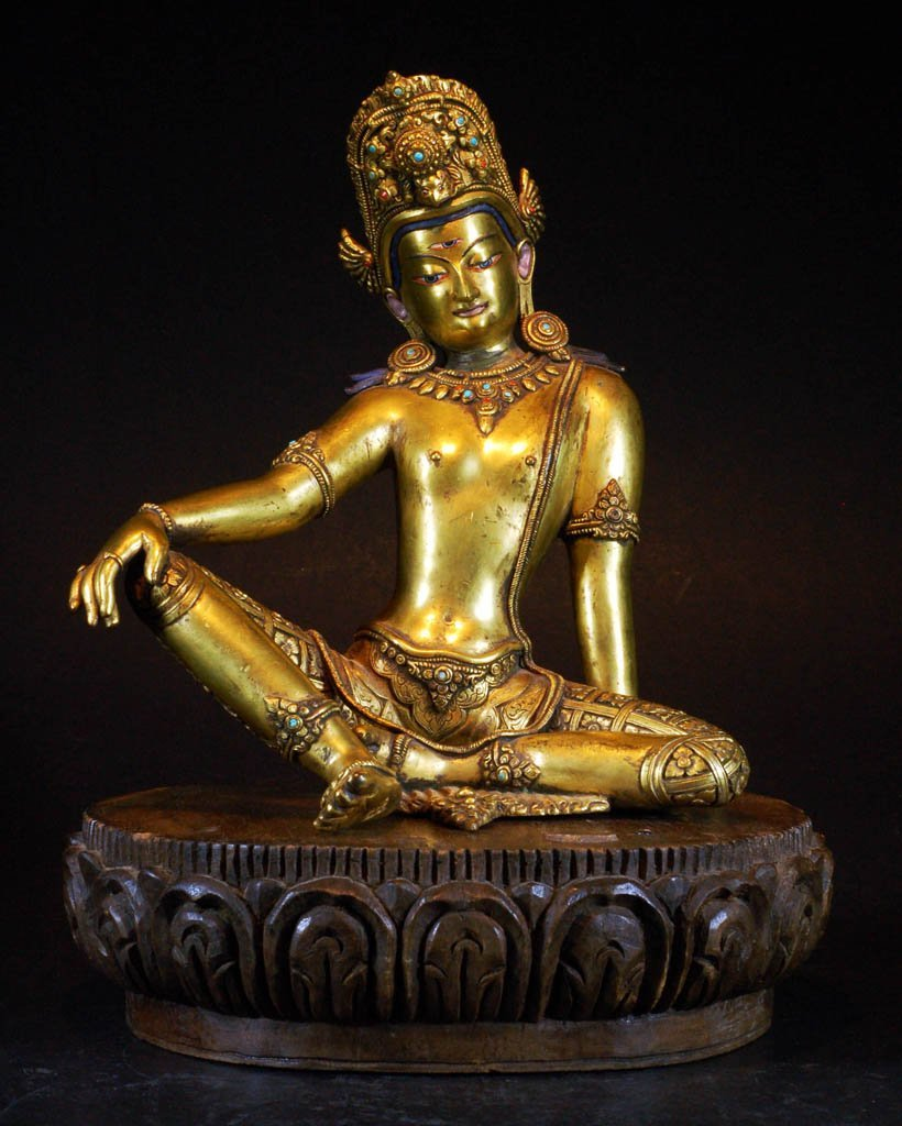 17th-18th Century Gilt Bronze Buddha on Wood Base