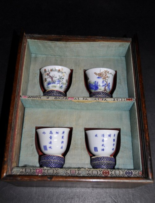 Set of Four Famille Verte Month Cups