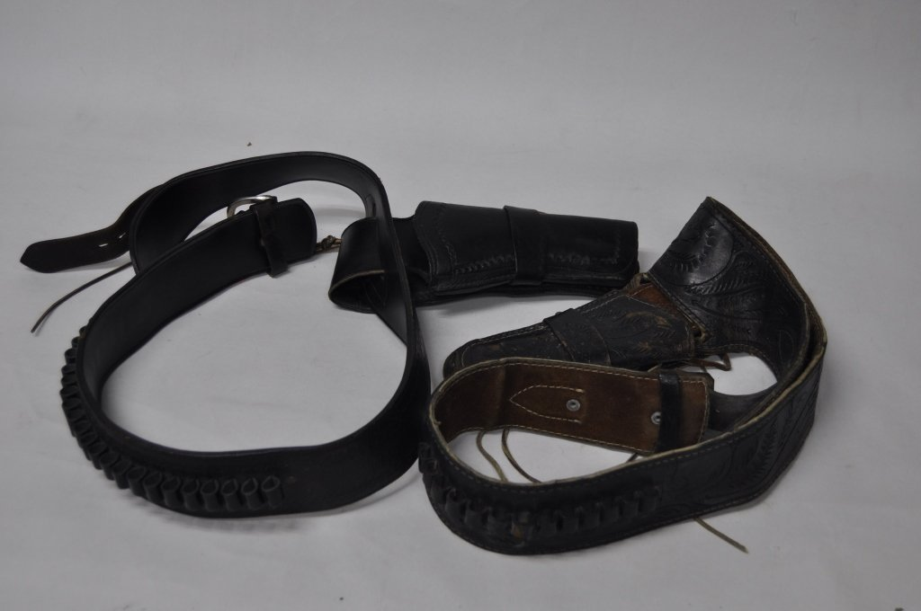 Two Leather Gun Belts and Holsters
