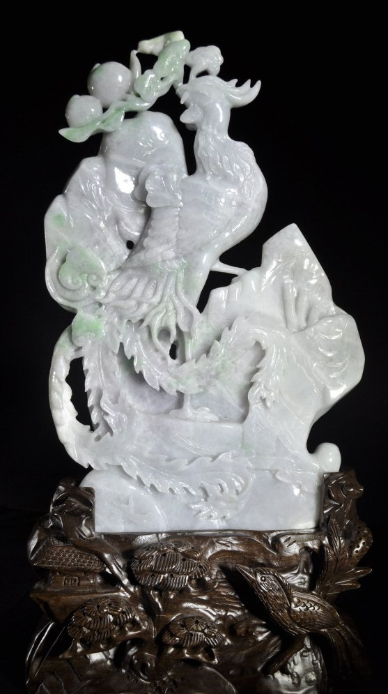 Large Jadeite Phoenix and Peaches Figure