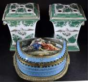 Three Continental Style Porcelain Articles
